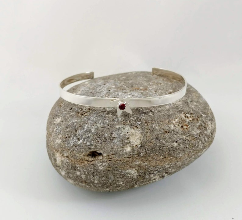 Star and Garnet Sterling Silver Cuff Bracelet image 0