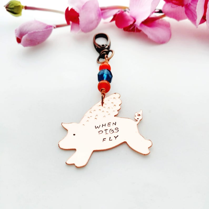 Flying Pig Keychain  When Pigs Fly Purse Charm  Copper  7th image 0