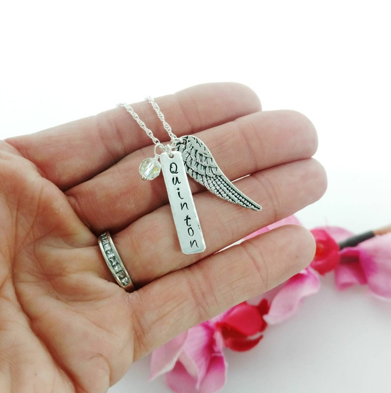 Name and Date Remembrance Necklace with Angel Wing and image 0