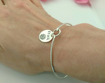 Inspirational Bangle Bracelet With Your Choice of Word - Sterling Silver - Birthday Gift for Her - Christmas Gift for Mom
