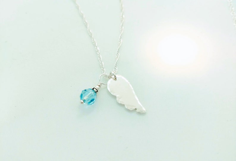 Angel Wing and Birthstone Necklace  Sterling Silver  image 0
