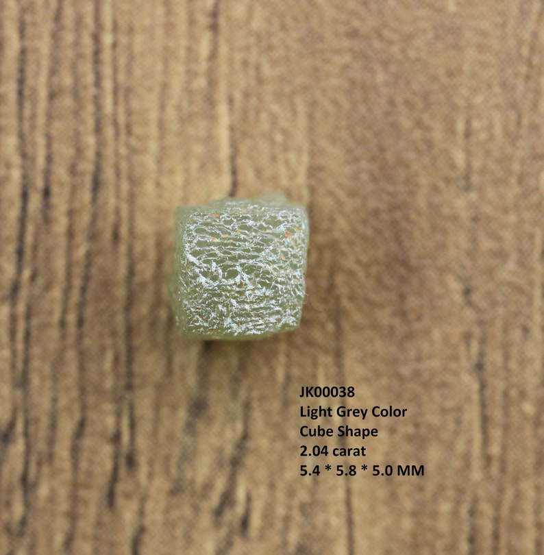 Congo Cube Rough Natural Light Grey Color African Diamond for jewelry use and for making engagement wedding ring and necklaces 2.04 Carat