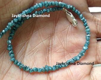 "8.00 ct Genuine Rare Natural Blue Raw Uncut Rough Diamond 6.5"" Bracelet with 925 Silver Clasp"