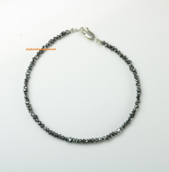 Black Rough Uncut Diamond Bracelet 925 Silver