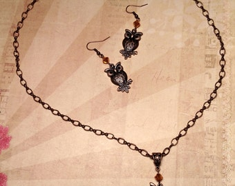 Copper Owl Necklace and Earrings Set