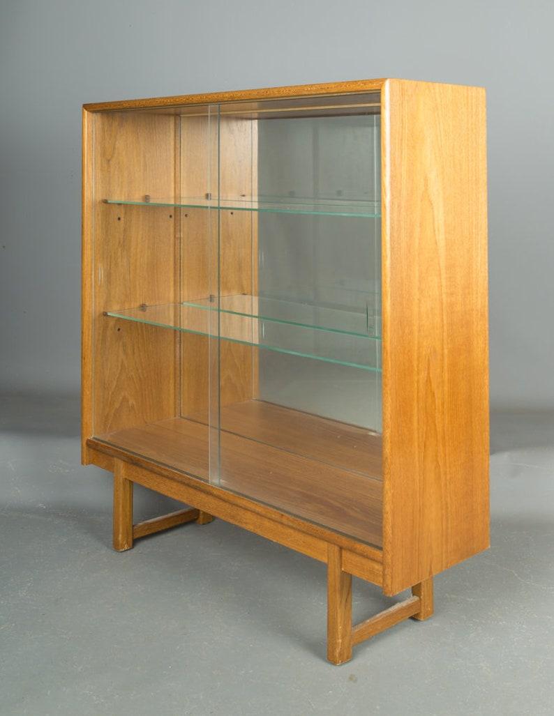 Vintage Danish 1960 S Teak Mid Century Bookcase Cupboard Glazed Mirrored
