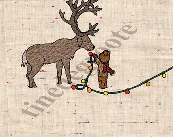 Card, Christmas, Christmas card, reindeer