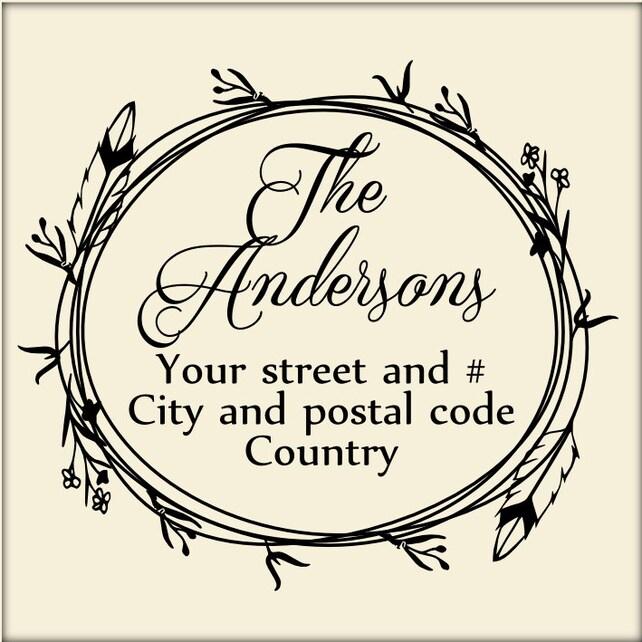Custom address stamp, Wreath address stamp, Custom Return address stamp,  Personalized stamp, 2x2 inches family stamp, wedding stamp, A33
