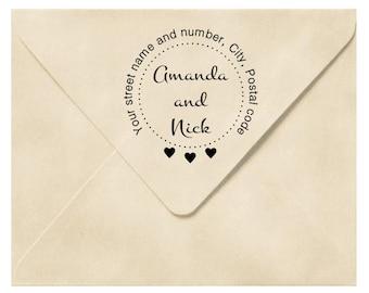 Custom address stamp, Round address stamp, Custom Return address stamp,  Personalized stamp, 2x2 inches family stamp, wedding stamp, A22