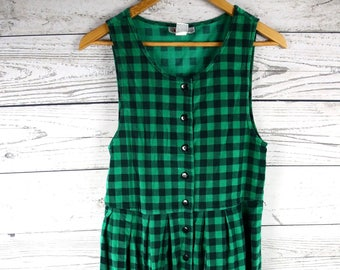 Vintage Fads 90s Grunge Green & Black Plaid Pleated Jumper Dress- Size 6 Petite- 100% Cotton