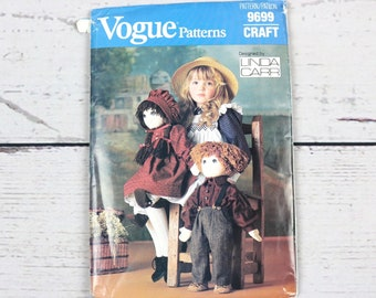 Vogue Patterns 9699 Linda Carr Craft Stuffed Doll & Clothes Sewing Pattern-1986-Uncut