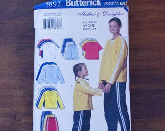 Butterick Fast & Easy 5892 Mother Daughter Athletic Sporty Shirt/Shorts/Pants Outfit Pattern- Al Sizes- Uncut