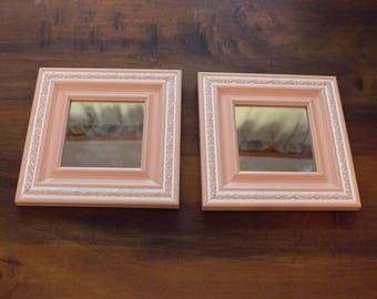Vintage Home Interiors Peach Pink and White Square or Diamond Wall Mirror Set- 7x7
