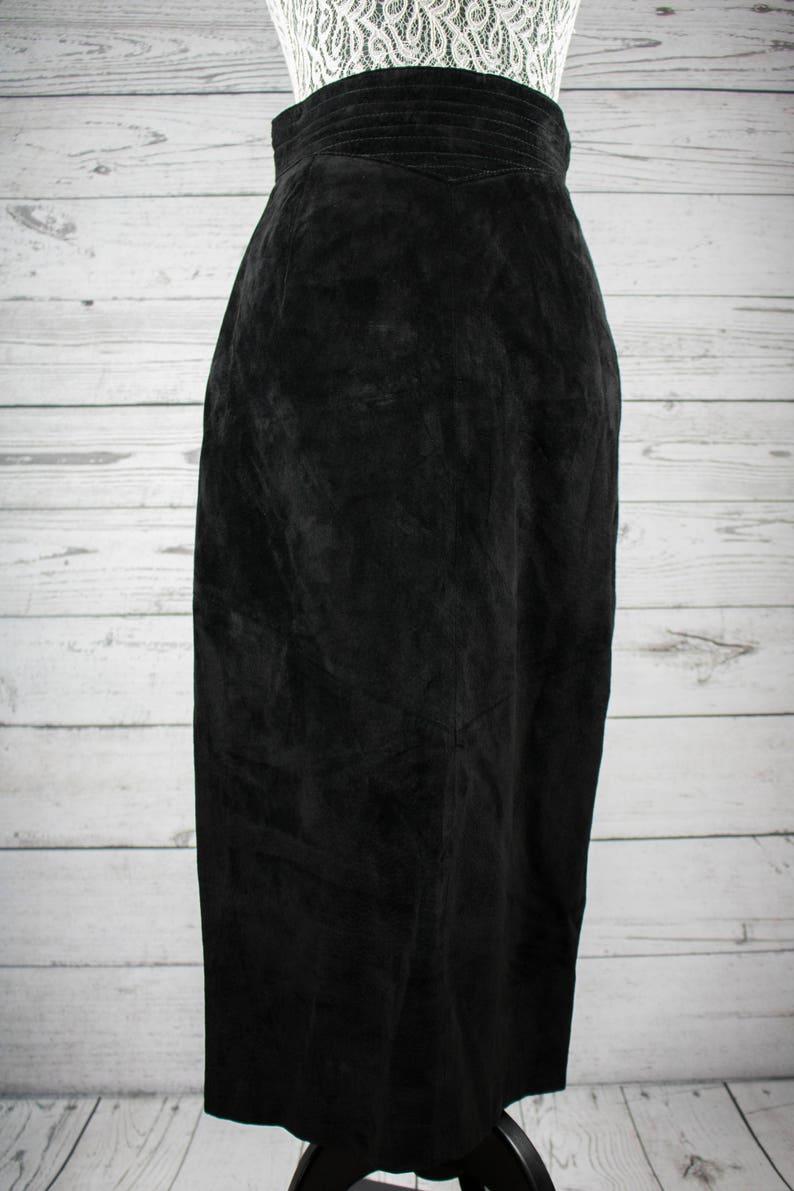4d0bdfd838 Evan Davies Black Suede Leather Maxi Skirt Size 8 Waist 27   Etsy