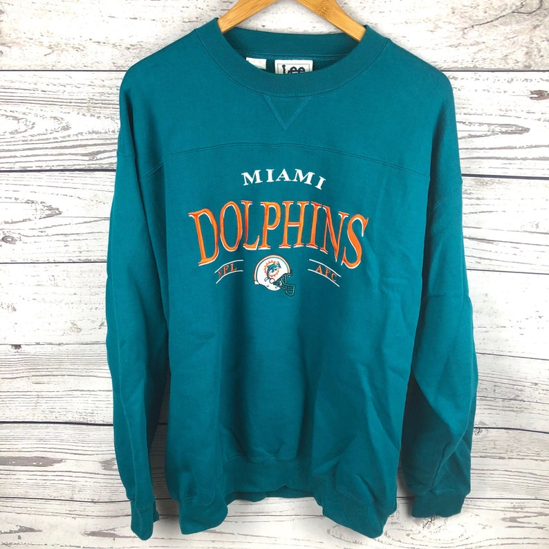 Men's Clothing Fast Deliver Lee Sport Dolphins Vintage Gray Pullover Sweater Size Xl Sweaters