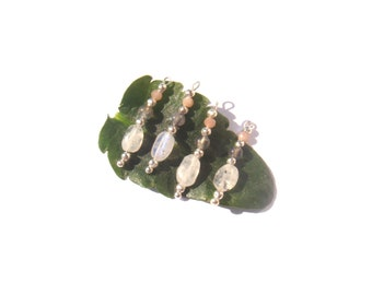 Moonstone Rainbow, Labradorite, Sunstone: 4 mm tall x 5 mm wide approx 2.6 cm charms