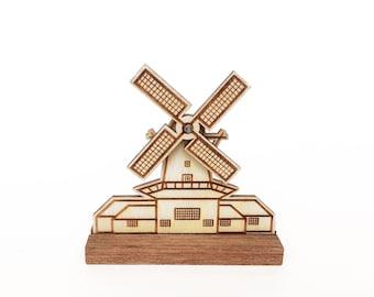 Dutch wooden windmill with rotating blades, lasercut miniature.