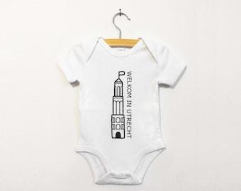 Baby bodysuit Welkom in Utrecht. Great gift for babies born in Utrecht or visiting Utrecht.