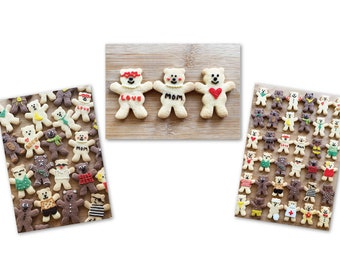 Set of 3  postcards of homemade cookies. Cute colourful postcards.