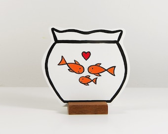 Wooden Fishbowl with a family of fishes. Ideal pet for at home or the office. Great gift!
