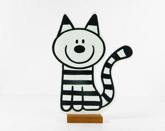 Wooden striped cat Jack. Easy pet. Jack has no fleas!