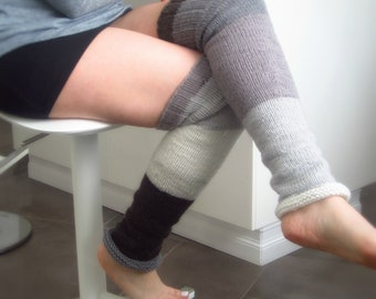 Knitted Leg Warmers, Many shades of grey, Above knee length,