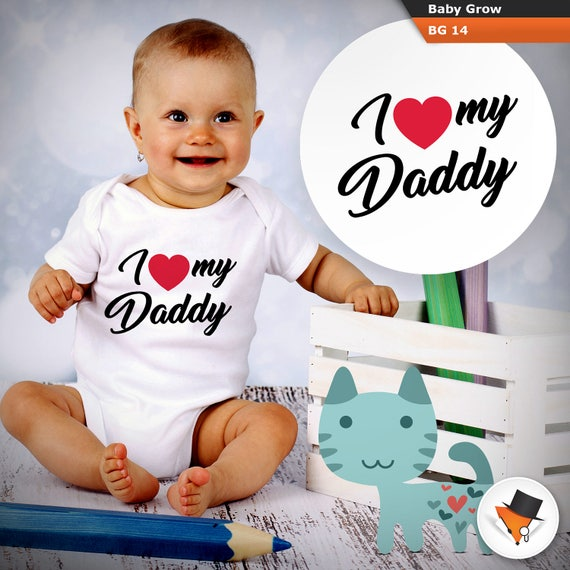 Personalised Baby Vest Bodysuit Named Loves Her Daddy Gift Cute Baby Fathers Day