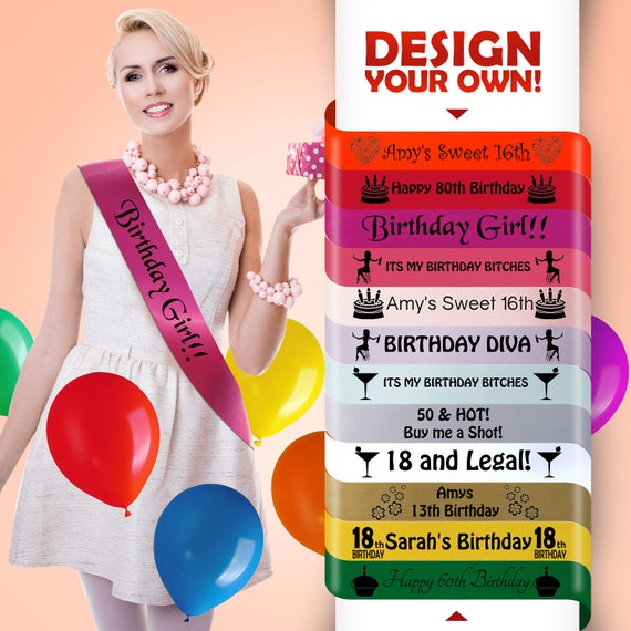New Luxury Personalised Birthday Sash Young Adult Lovely Perfect Gift For Woman Girl Her 25th 35th Satin Custom Single Sided