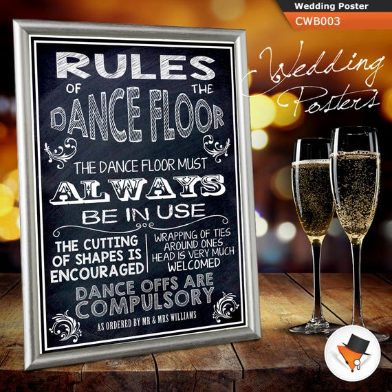 Shabby Chic Rules Of The Dancefloor Personalised Wedding Sign Poster