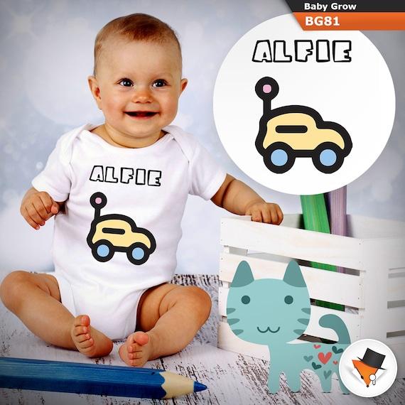 PERSONALISED cute baby boy clothing  car babygrow bodysuit vest New baby gift