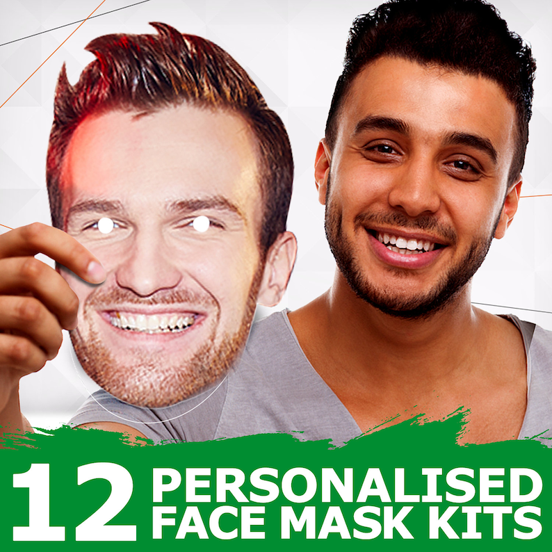 20 x Personalised Stag Hen DIY Photo Face Masks Custom Party Photo Mask JUST CUT
