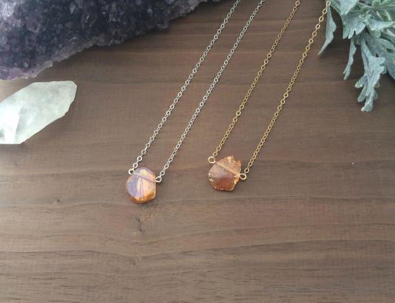 Black Onyx and Crystal Quartz Necklace  Lariat  Dainty  Minimal  Raw Stone  Tumbled Stones  Natural  Boho Jewelry  Boho
