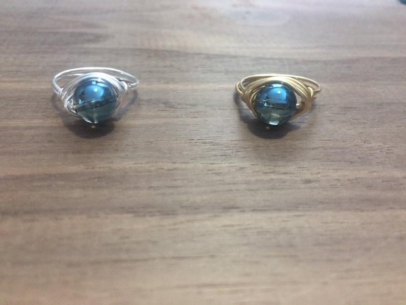 Blue Angel Aura Ring  Tumbled Angel Aura  Angel Aura Stone  Dainty Ring