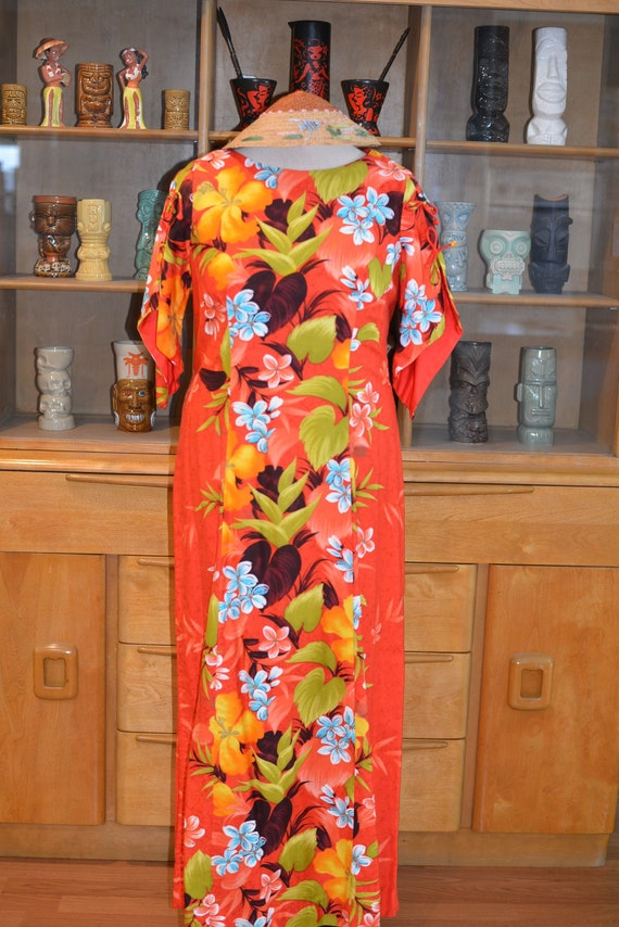 Vintage 60s Tropical Hawaiian Pake Muu Style Dress