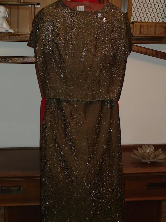 Vintage 60s Designer Lurex Blouse and Pencil Skirt