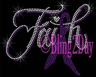 9d6c1add7f37 Faith - PURPLE Ribbon - Iron on Rhinestone Transfer Bling Hot Fix - Domestic  Violence Lupus Awareness Applique - DIY