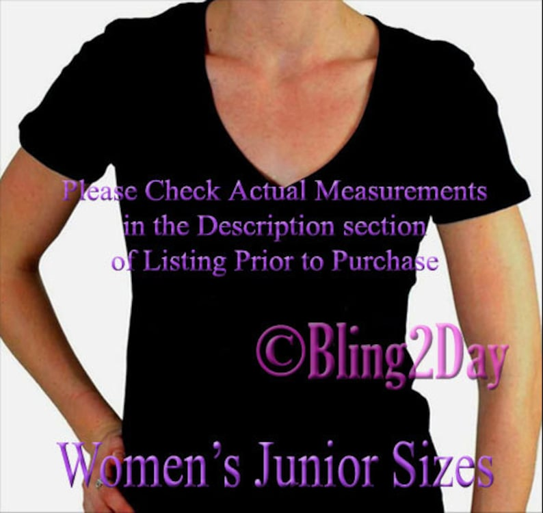 73508b65b7b29 ADD-On - FREE Printing on V-Neck Women's Junior Fitted Shirt for your Iron  on Rhinestone Transfer Purchase - ADD-On Bling T-Shirt