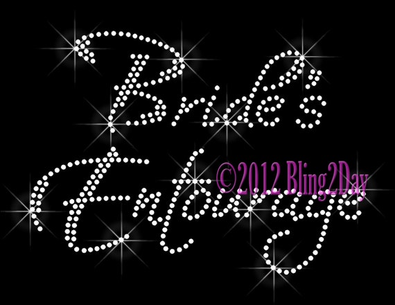 Team Bride Groom Bridal Party Iron On Rhinestone Transfer for Shirts Bling