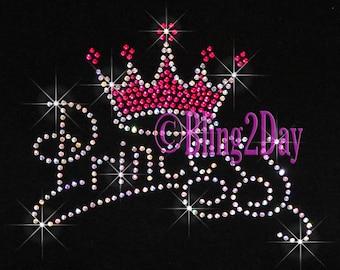 Princess - Hot Pink Crown - Iron on Rhinestone Transfer Bling Hot Fix - DIY