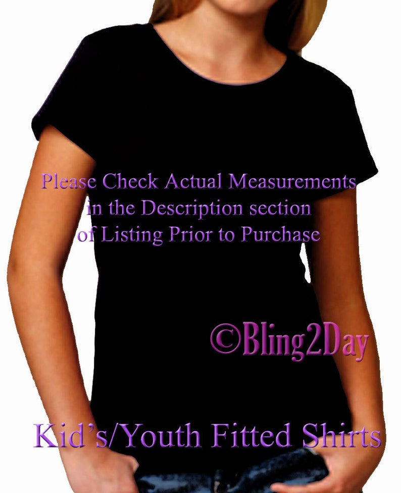 74b8860db99fe ADD-On - FREE Printing on Kid's Fitted Shirt (Youth) for your Iron on  Rhinestone Transfer Purchase - ADD-On Bling T-Shirt