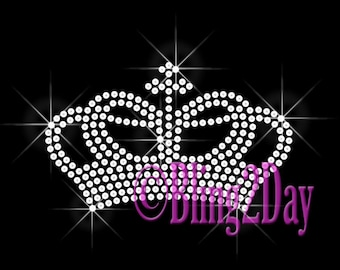 Crown Queen - CLEAR Royalty - Iron on Rhinestone Transfer Bling Hot Fix - DIY