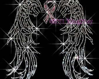 Angel Wings - Pink Breast Cancer Ribbon - Iron on Rhinestone Transfer Bling Hot Fix - DIY