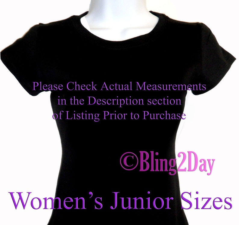 d230a020a0773 ADD-On - FREE Printing on Women's Junior Fitted Shirt for your Iron on  Rhinestone Transfer Purchase - ADD-On Bling T-Shirt