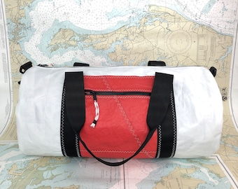 54fa3be55bb2 Recycled Sail Duffle Bag with Red