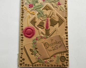 """Unused Antique Embossed """"December 25"""" Christmas Card With Silk Cord and Editha Pritchard"""