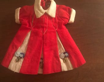 Vintage Unmarked Penny Bright Size Red and White Cotton Dress with Inset Flower-appliqué Trimmed Pleats