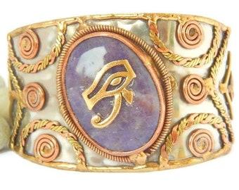 Eye of RA/Amethyst gemstone Cuff Bracelet