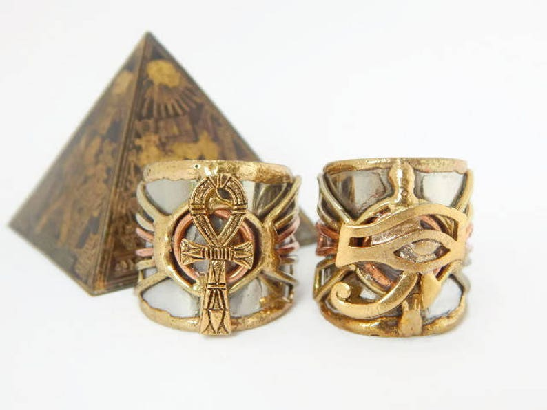 Magnificent 2 Ring Set featuring Ankh & Eye of RA charms image 0