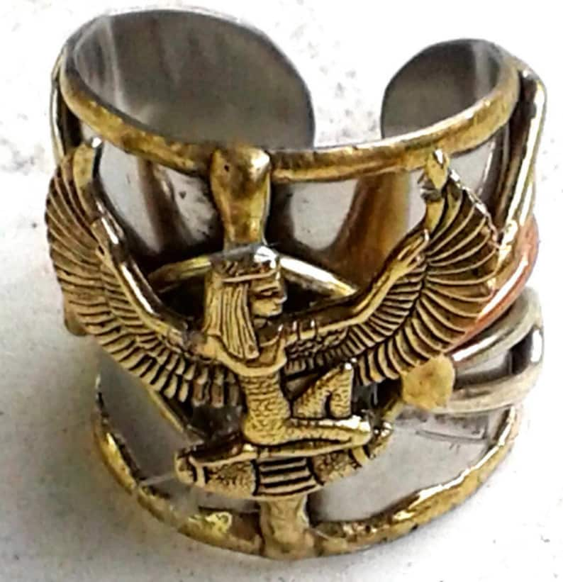 Maat  Goddess of truth/justice  Charm Ring. Ancient image 0