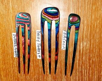 Handmade wooden HAIR PIN PICK FORK carved ELEGANT natural Sono wood organic new